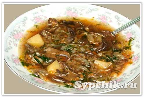 рецепт супа с мороженых грибов